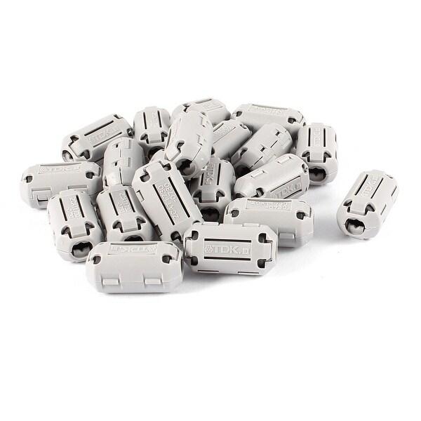 Unique Bargains 20 Pcs Gray 7.5mm Dia Cord Ferrite Core Clip On Noise Suppressor Filter