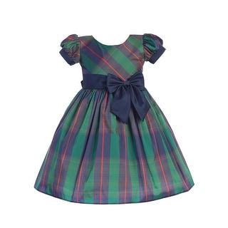 Link to Lito Baby Girls Blue Green Plaid Short Sleeve Ribbon Sash Christmas Dress Similar Items in Girls' Clothing