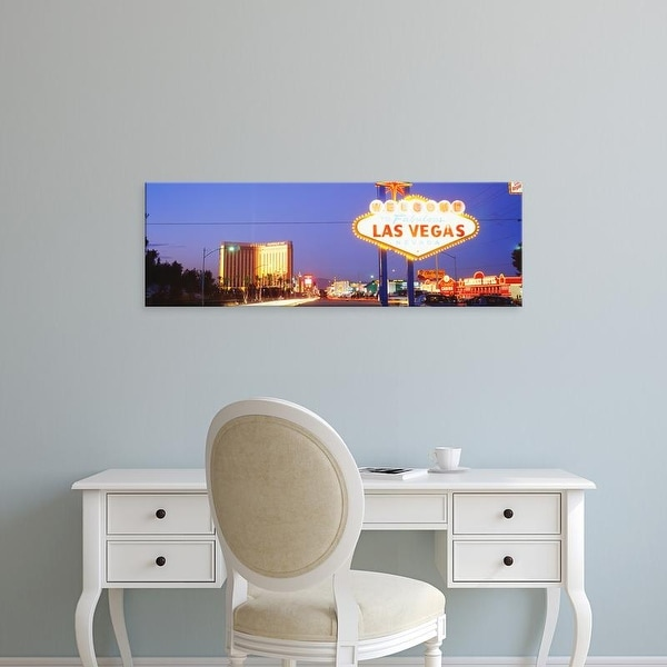 Easy Art Prints Panoramic Images's 'Welcome Sign Las Vegas NV' Premium Canvas Art