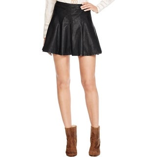 Free People Womens Flare Skirt Faux Leather Back Zip