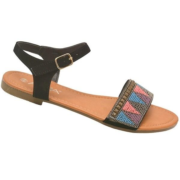 208dd3357211 Shop Anna Adult Black Multi Color Tiny Bead Accent Open Toe Sandals ...