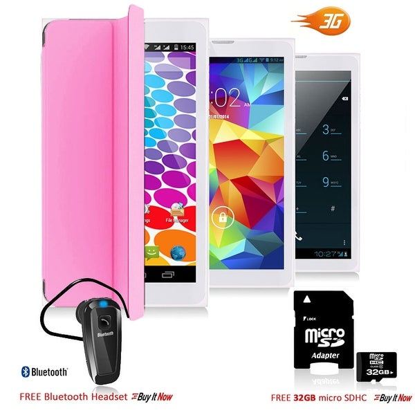 Indigi® 7.0inch Factory Unlocked 3G 2-in-1 SmartPhone & TabletPC Android 4.4 w/ Built-in Cover + Bundle Included(Pink) - Pink