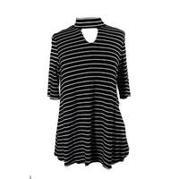 Ny Collection Black White Mock-Neck Keyhole Swing Top M