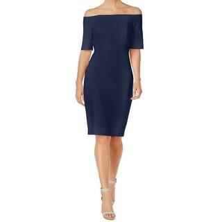 Calvin Klein Navy Blue Womens Size 12 Off-Shoulder Sheath Dress