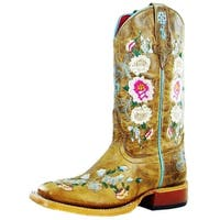 Macie Bean Western Boots Girl Leather Cowboy Floral Rose Garden