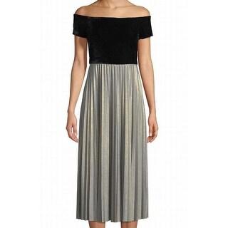 Donna Morgan Silver Women's Off-Shoulder Sheath Dress
