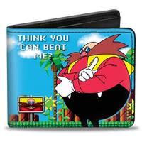 Sonic Classic Doctor Eggman Pose Think You Can Beat Me? 8 Bit Scene Bi Fold Bi-Fold Wallet - One Size Fits most