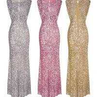 Gold And Silver Pink Halter Evening Dress