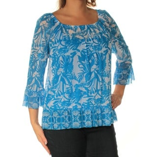 INC $64 Womens New 1409 Blue Floral Square Neck 3/4 Sleeve Casual Top L B+B