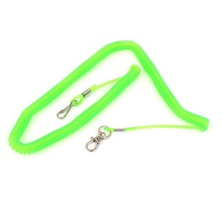 Unique Bargains 4M 13.1 Ft Long Retractable Flexible Coiled Fishing Lanyard Rope Lime Green