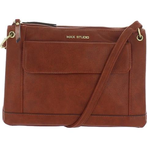 Max Studio Womens Crossbody Handbag Faux Leather Adjustable - Brandy - Small