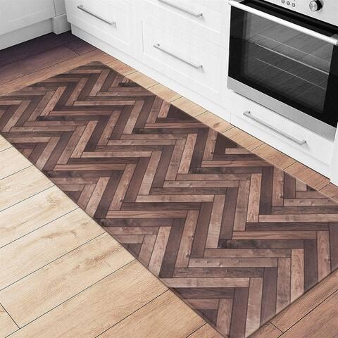 Chevron Wood Design Anti Fatigue Standing Mat