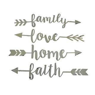 Shabby Chic Family Love Home and Faith 4 Piece Wall Arrow Set - 3 X 14 X 0.13 inches