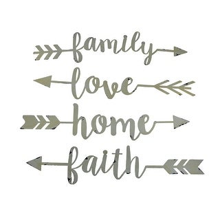 Shabby White Family Love Home and Faith 4 Piece Wall Arrow Set