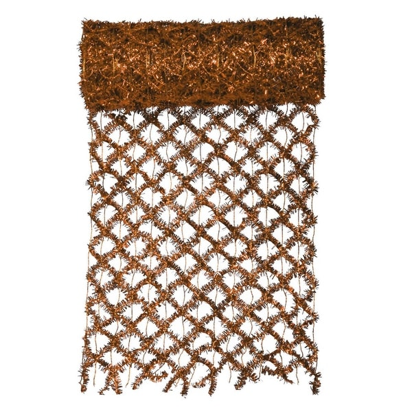 """30' x 12"""" Commercial Length Extra Wide Wired Mesh Copper Tinsel Garland Ribbon - GOLD"""