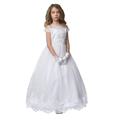 Petite Adele White Mesh Beaded Floral Lace Sleeve Communion Dress Big Girls