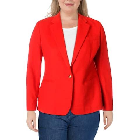 Lauren Ralph Lauren Womens Rachel One-Button Blazer Notch Collar Suit Seperate - Orange