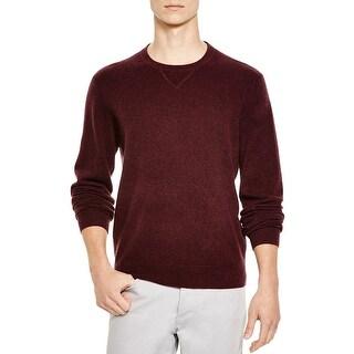 Bloomingdales Mens Slim Fit Cashmere Crewneck Sweater Large L Wine Knitwear