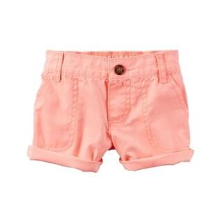 Carter's Little Girls' Twill Roll-Cuff Shorts, 4-Kids