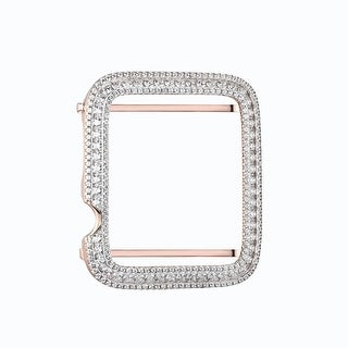 Rose Gold Over Sterling Silver Lab Diamond 42mm Apple Watch Bezel Iced Out