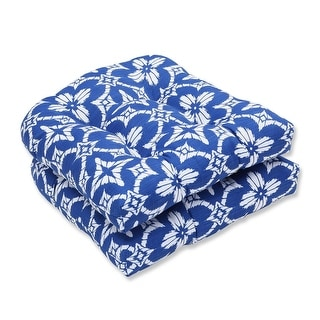 "19"" Blue and White Geo Quatrefoil Outdoor Patio Wicker seat Cushion"
