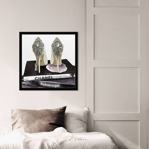 Oliver Gal 'My Trophies' Fashion and Glam Framed Wall Art Prints Shoes - Black, Gray
