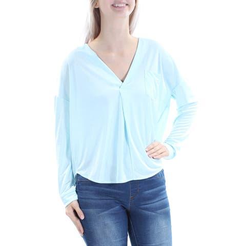 KIIND OF Womens Light Blue Long Sleeve V Neck Top Size: S