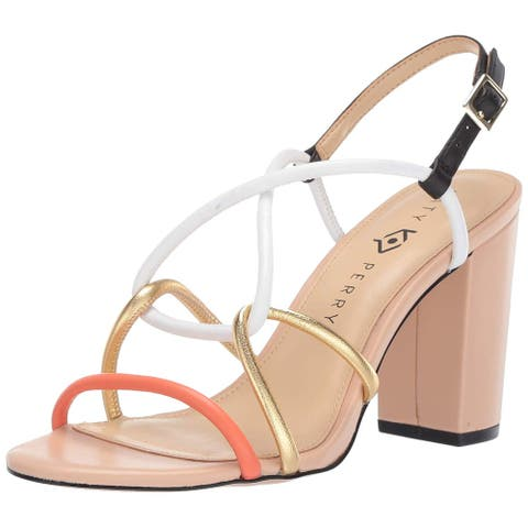 Katy Perry Womens the kendra-nappa Leather Peep Toe Casual Slingback Sandals