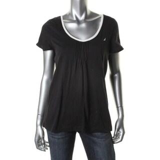Nautica Womens Sleep Shirt Knit Short Sleeves - M