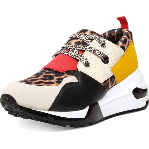 Steve Madden Women's Cliff Leather Mixed Print Chunky Wedge Fashion Sneaker