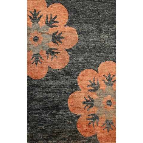 """Contemporary Abstract Oriental Area Rug Hand-knotted Bedroom Carpet - 4'6"""" x 6'5"""""""