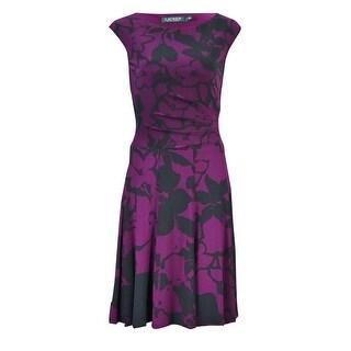 Lauren Ralph Lauren Women's Floral Jersey A-Line Dress - marsala/black