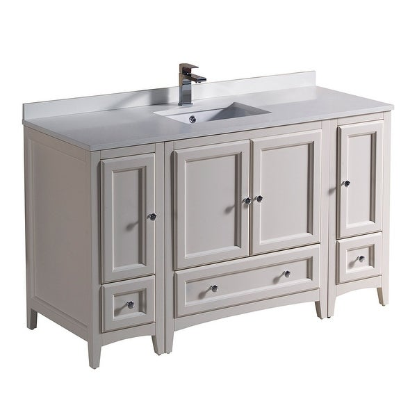 "Fresca FCB20-123012-U Oxford 54"" Free Standing Vanity Set with Wood Cabinet, Quartz Vanity Top, and Single Undermount Sink"