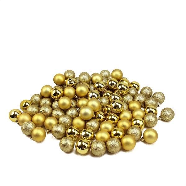 "96ct Vegas Gold 4-Finish Shatterproof Christmas Ball Ornaments - 1.5"""