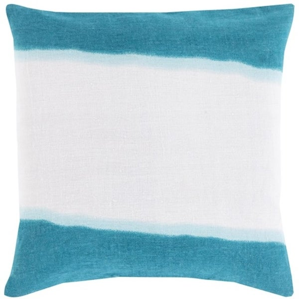 "22"" Teal and White Double Dip Decorative Throw Pillow"