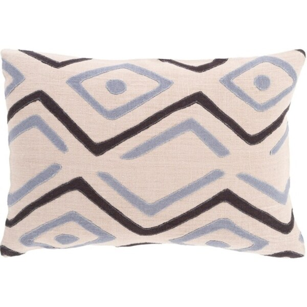 "13"" x 19"" Tribal Rhythm Tan Brown and Fog Gray Decorative Throw Pillow"