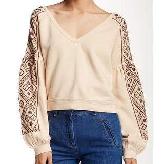 Free People NEW Pink Women's Size Medium M Embroidered V-Neck Sweater