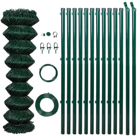 """vidaXL Chain Fence 4' 1"""" x 82' Green with Posts & All Hardware"""