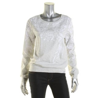 South Pole Womens Juniors Embellished Fleece Pullover Top - L