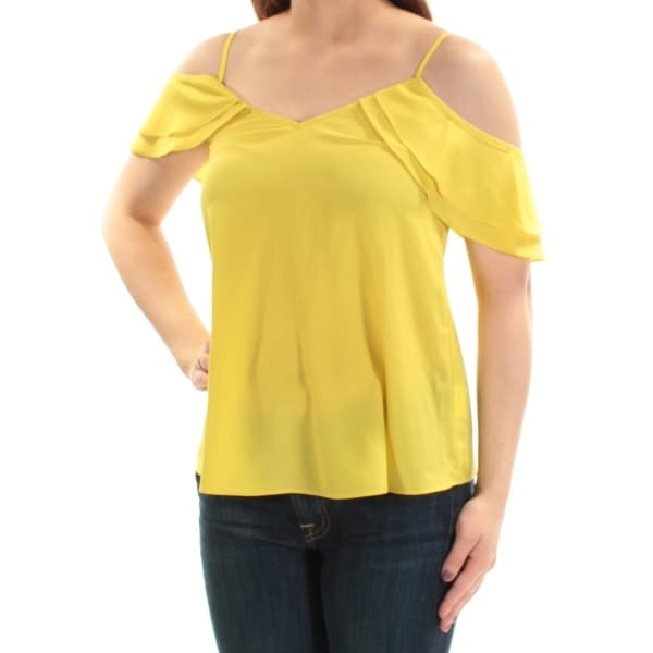 f140199bb3343 Shop BAR III Womens Yellow Cold Shoulder Short Sleeve V Neck Top Size  2XS  - Free Shipping On Orders Over  45 - Overstock - 22644165