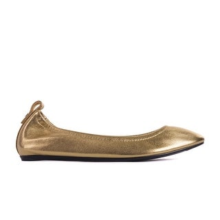 Lanvin Women's Golden elasticated Goatskin leather slip-on flat