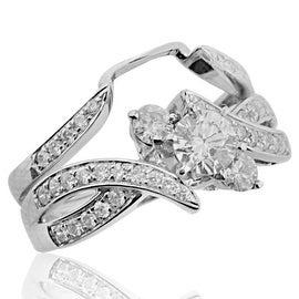 14K White Gold Intertwining Bridal Wedding Set 0.88cttw Diamonds Round Solitaire Center(i2/i3, i/j)