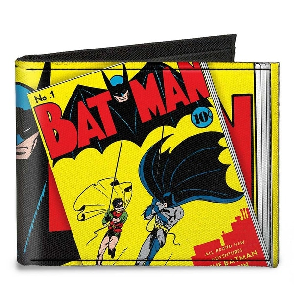 Classic Batman Issue #1 Robin & Batman Logo Close Up Cover Pose Canvas Bi Canvas Bi-Fold Wallet One Size - One Size Fits most