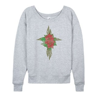 Poinsetta Cross - Ladies Lightweight French Terry Pullover