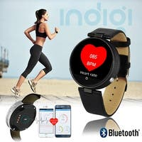 NEW Bluetooth 4.0 Round Leather SmartWatch - Siri Control - iOS & Android Compatible - Heart Rate - Pedometer