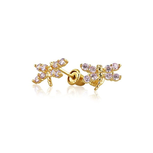 Bling Jewelry 14k Gold Pink Cz Dragonfly Baby Stud Earrings