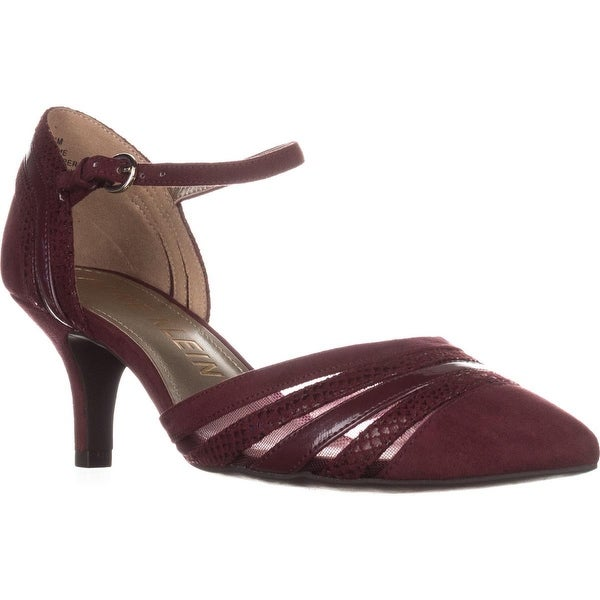 Anne Klein Fayme Mary Jane Kitten Heels, Wine Multi