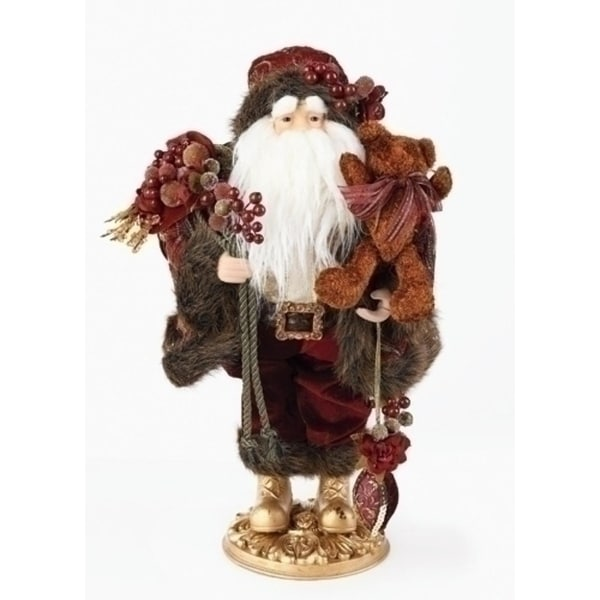 """18"""" Woodland Traditions Santa Claus with Grapes Christmas Table Top Figure - RED"""