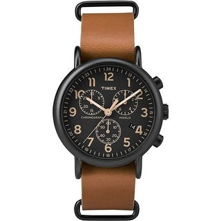 Timex Weekender Chrono Oversized Watch - Black Dial/Brown Strap Weekender Chrono Brown Strap Black Dial Watch