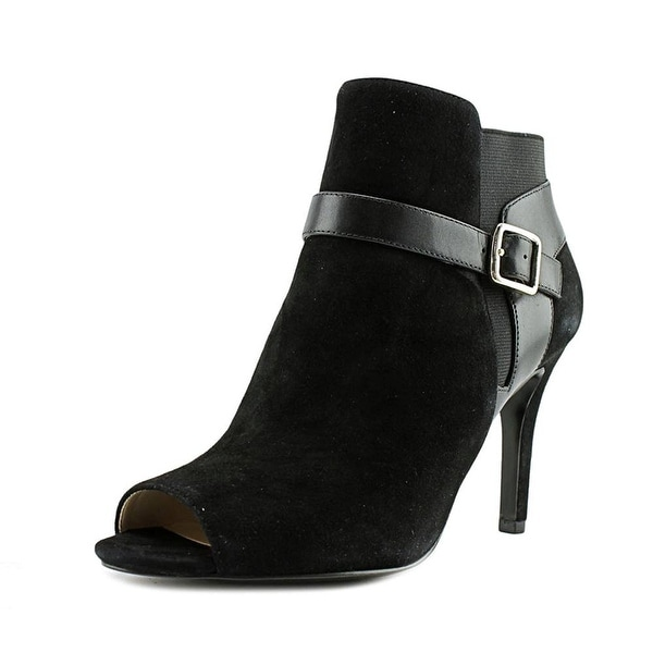 Marc Fisher Shimmee Peep-Toe Leather Ankle Boot - 10